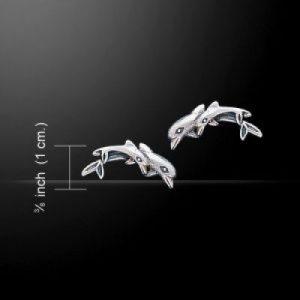 Zilveren oorbel Dolfijn paartje (steker)