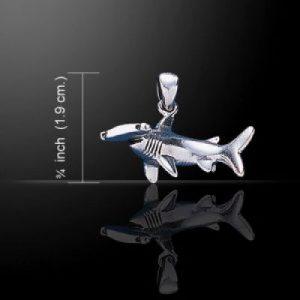 Zilveren hanger hamerhaai gebogen groot